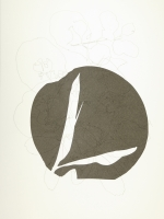 Round forms leaf, drawing and screen print on Bockingford paper, 35x47 cm, Edition 10.